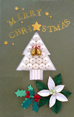 《クリスマス講習》クリスマスカードB ポインセチア